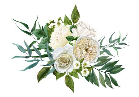 White flowers bouquet, roses and leaves, hand drawn Vector Illustration