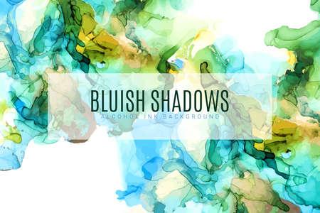 Green, blue and gold shades ink background Ilustração