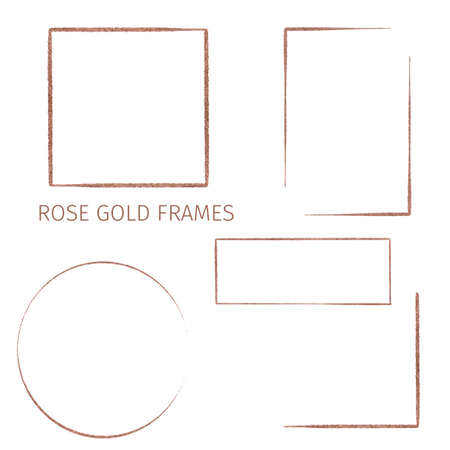 Collection of five rose gold frames, hand drawn