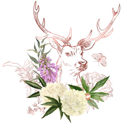branches, rose gold floral elements and deer head Imagens