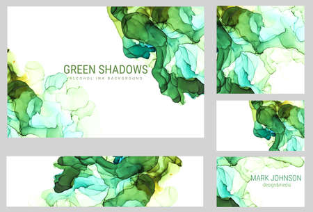 Green shades watercolor cards collection, wet liquid