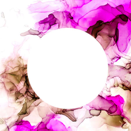 Round banner, Purple and pink shades watercolor background