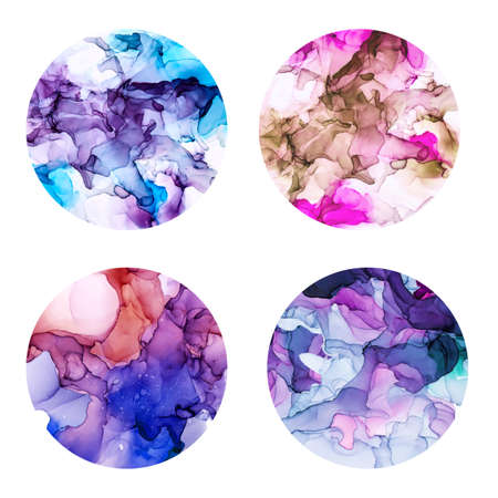 Round posters set, wet watercolor background, violet shades Imagens