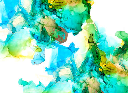 Green, blue and gold shades watercolor background, wet liquid ink Imagens