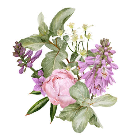 Pink peonies, hosta flowers, clematis and siverberry branch