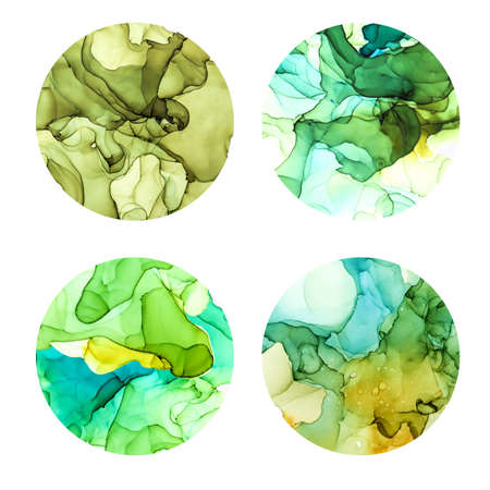 Round posters set, wet watercolor background, green shades