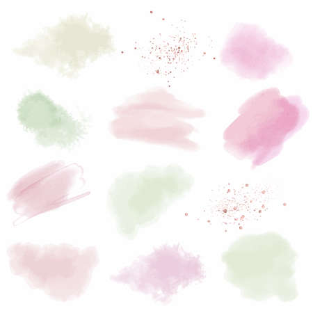 Pstel pink and green watercolor stains, hand drawn