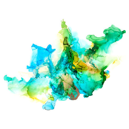 Green, blue and gold shades watercolor background, wet liquid