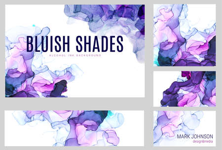 Violet shades watercolor cards collection, wet liquid inks Imagens
