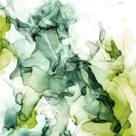 Moody Green shades watercolor background, wet liquid