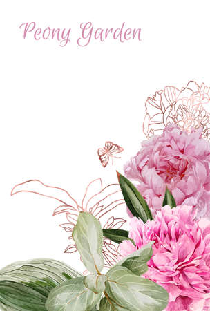 Lush peonies, flowers and rose gold floral elemets Imagens