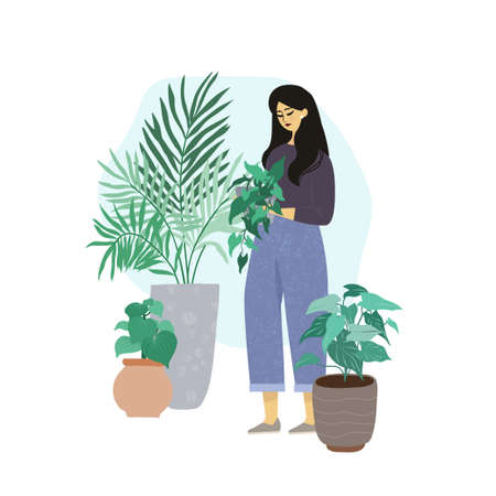 Young woman takes care about home plants
