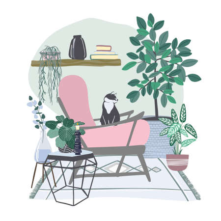 Cozy scandi room interior with plants in pots Ilustración de vector