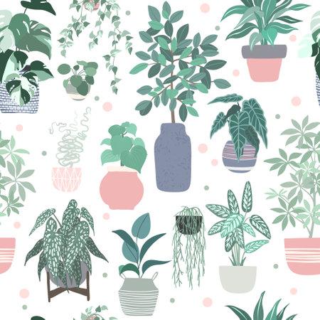 Urban jungle concept, seamless pattern home plants