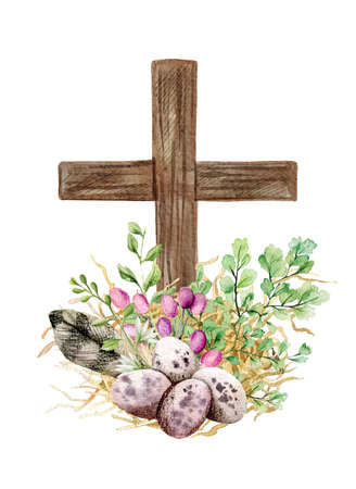 Easter christian cross with green ferns, eggs and feather Standard-Bild