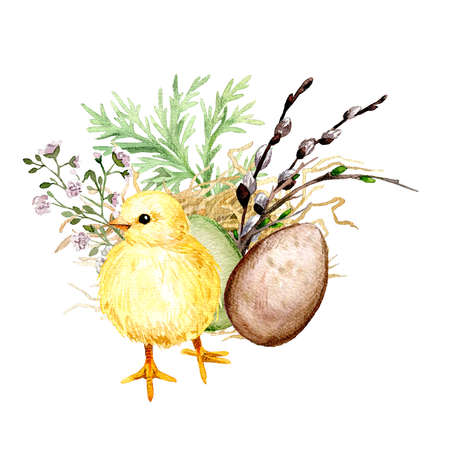 Easter composition with yellow chick, Hand drawn illustration. Standard-Bild