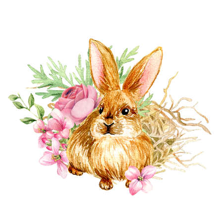 Easter composition with cute bunny and hay. Standard-Bild