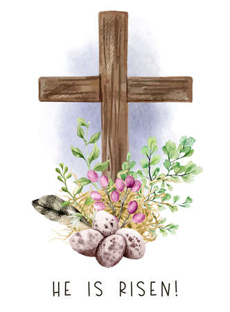 Easter christian cross with green ferns, eggs and feather, Illustration