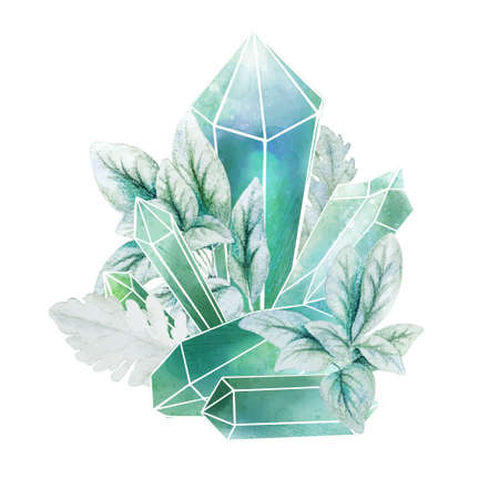 Crystal gems with blue leaves, full color decorative art