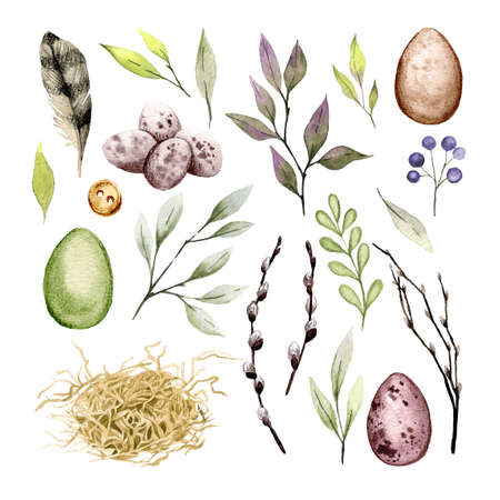 Easter clip art set with eggs, feather and greenery