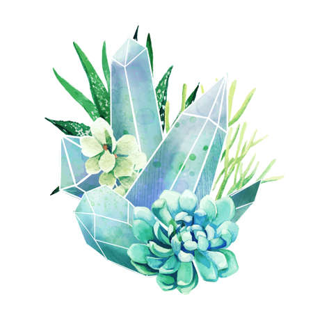 Crystal gems with succulents, full color decorative art