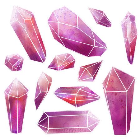 Watercolor gems set, pink crystals, wet texture