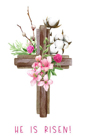 Easter christian cross with flowers, willow and cotton Illustration