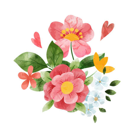 Spring abstract floral bouquet. Tiny wet flowers. Illustration