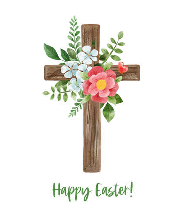 Easter cross with floral decor. Hand drawn art Illustration