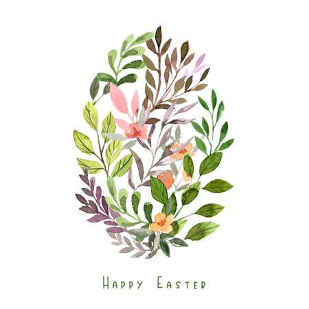 Egg shape made of floral elements. Easter decor