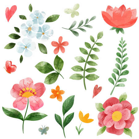 Spring coral pink flowes set. Hand drawn vector