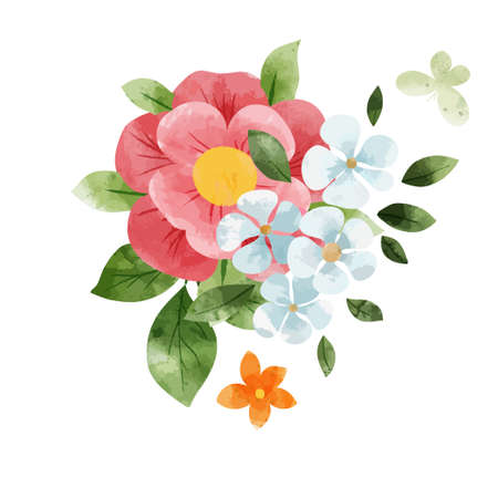 Spring abstract floral bouquet. Tiny floral art.