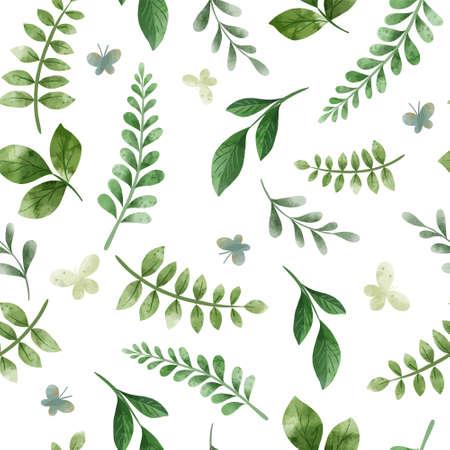 Green herbs. Cute green floral seamless pattern. Illustration