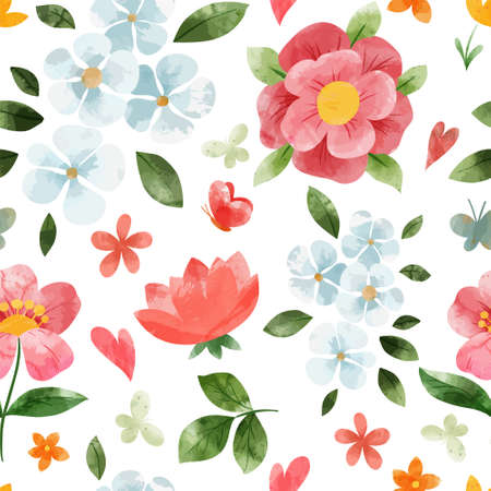 Spring floral seamless pattern. Hand drawn vector