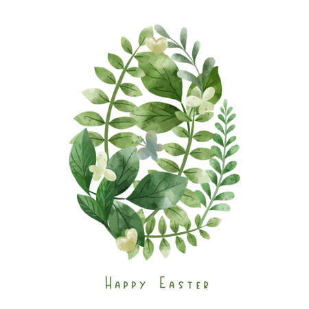 Egg shape composed of green herbs and leaves.