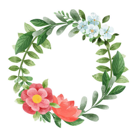 Spring floral wreath. Hand drawn vector watercolor Illustration