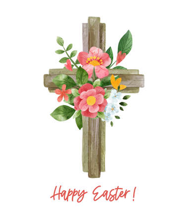 Easter cross with floral decor. Hand drawn vector