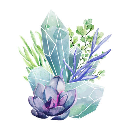 Crystal gems with succulents, full color art