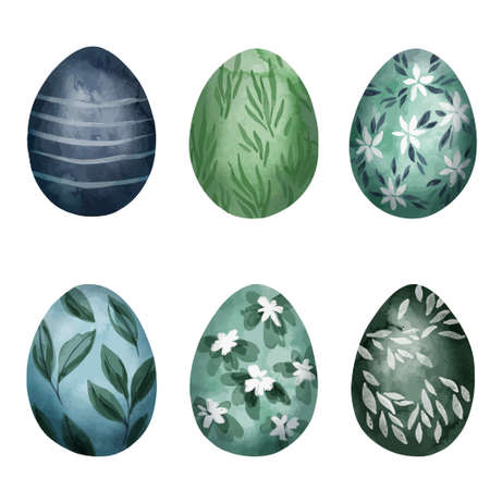 Set of six easter eggs with floral patterns