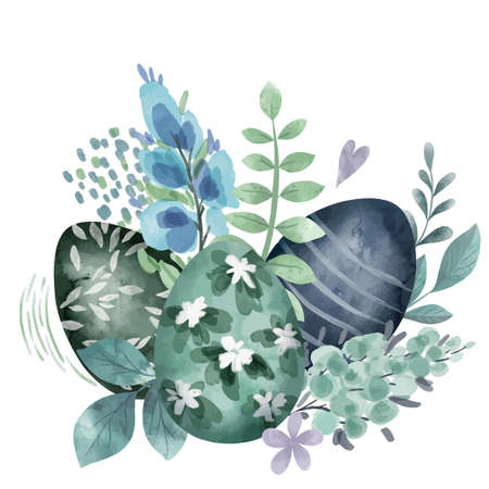 Cool green floral easter composition with eggs Illustration