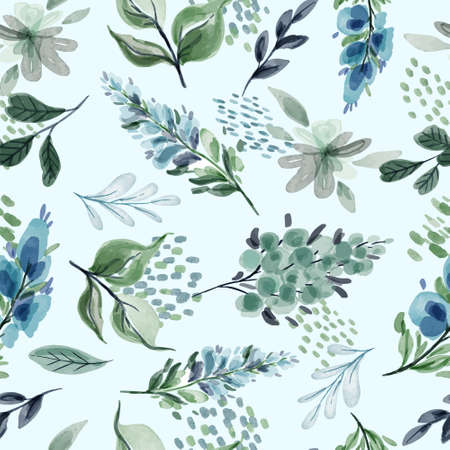 Floral seamless pattern with flowers and leaves