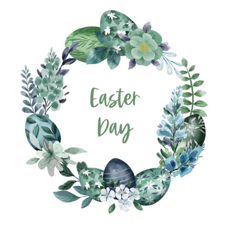 Easter floral wreath with flowers, leaves and painted eggs