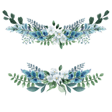 Set of two floral symmetric bouquets, cold greenery