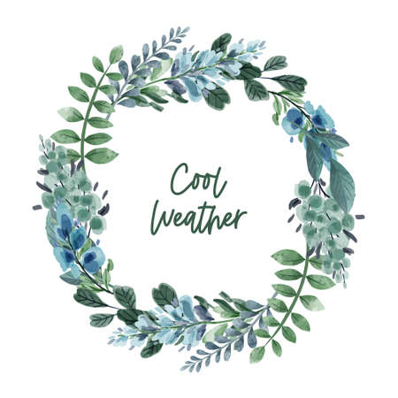 Cool green and bluish floral botanical wreath
