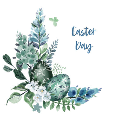 Corner easter arrangement with flowers and eggs Illustration