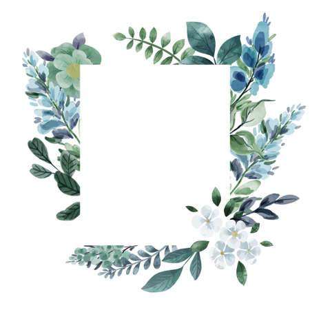 Floral card template, cool greenery and flowers