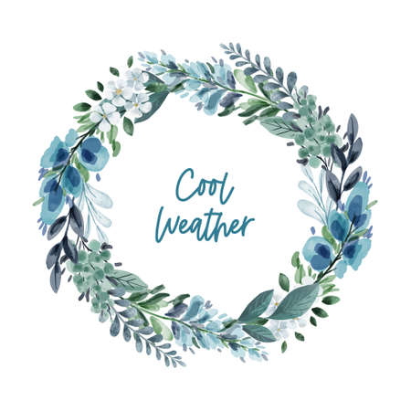 Cool green and bluish hand drawn floral wreath Illustration