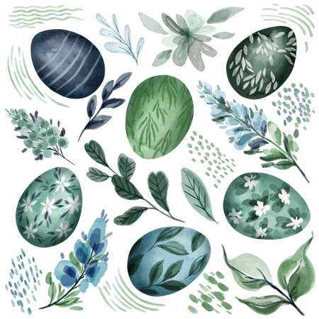 Cold green and blue easter clipart collection Illustration