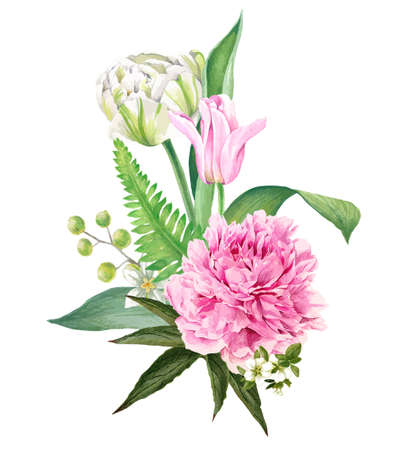 Peony and tulips bouquet, Hand drawn vector