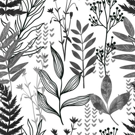 Black ink seamless pattern, wild flora, hand drawn